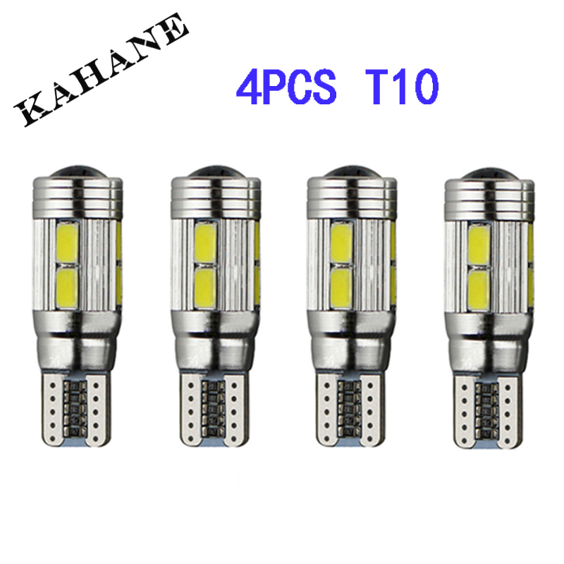 4 X T10 LED W5W Car LED Auto Lamp 12V Light bulbs with Projector Lens for ford focus 2 3 fiesta mondeo ecosport kuga drl wljh 2x canbus car 5630 smd t10 led w5w projector lens auto lamp light bulbs for ford focus 2 3 fiesta mondeo ecosport kuga drl