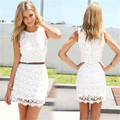 Lace Two Piece Sheath Cocktail Dresses 2015 Scoop White Lace  Short Party Backless Homecoming Dresses