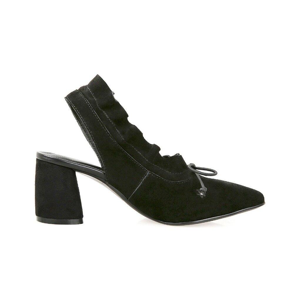 Pointu Bout L9f5 Pompe Chaussures Marque Volants D'été Kid brown Femmes Élégant Noir Papillon Hauts Suede noeud Talons Lenkisen Solide 2018 Slingback UwBqUtI
