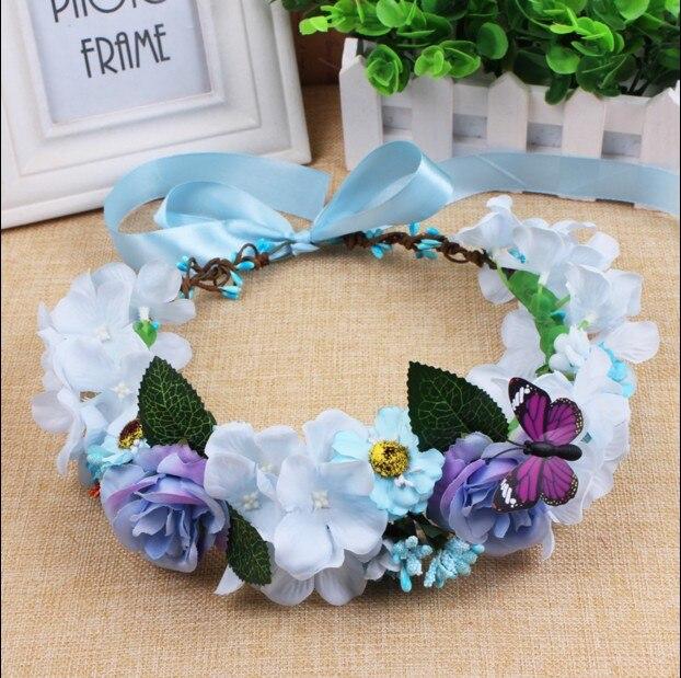 hecho a mano de flores de tela flor del pelo de la corona de la boda