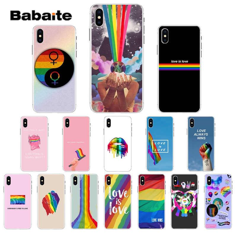 Babaite Gay Lesbienne LGBT Arc-En-Ciel Fierté Motif TPU Téléphone Portable étui pour iphone 8 7 6 6S Plus 5 5S SE XR X XS MAX Coquille
