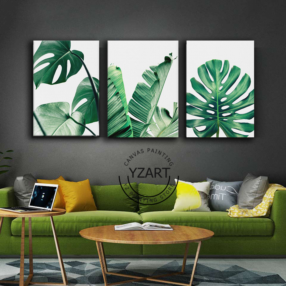 Art Décor: Nordic Style Canvas Painting Poster Of Green Leaf Monstera