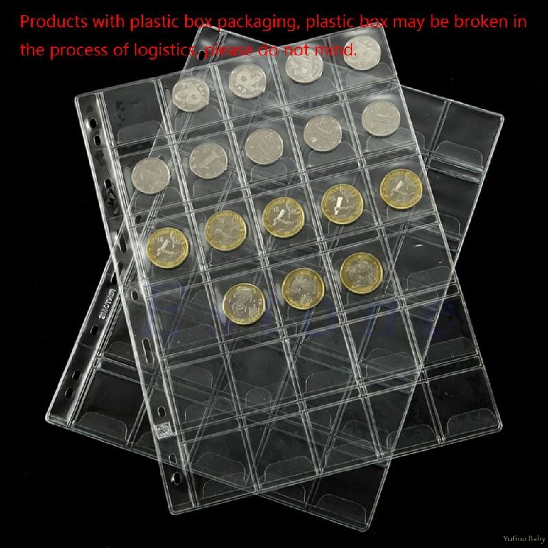 Clear 42 Pockets Plastic Coin Holders Storage Collection Money Album Case PV