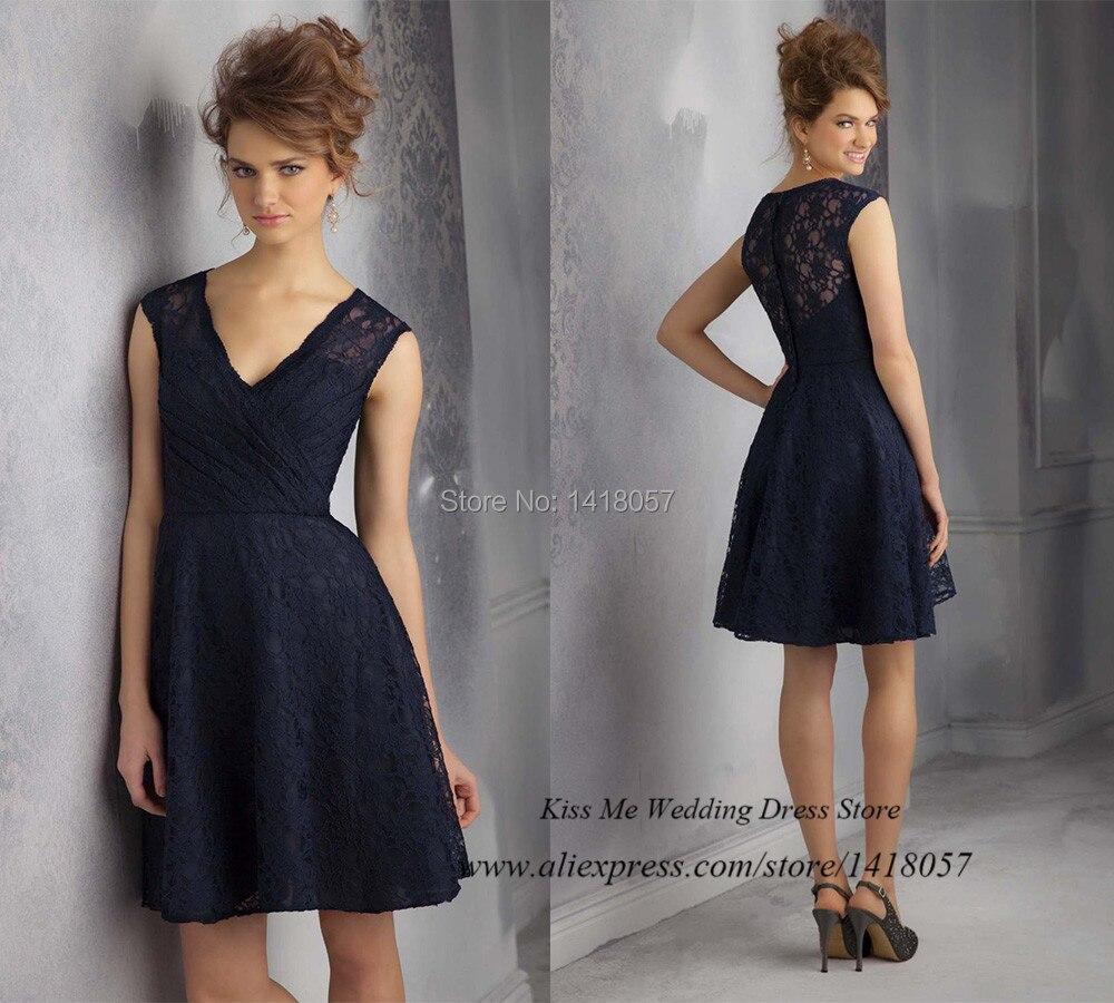 823c27bf010 Modeste meilleur vente marine dentelle bleu de demoiselle dhonneur robe  2015 V cou court ...