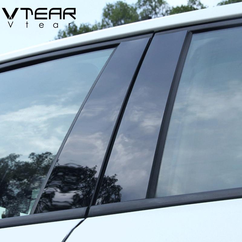 Vtear For Hyundai Kona Encino Car Window BC Column Decorative Sticker Trim Mirror Reflection Panel Exterior Accessories 2018