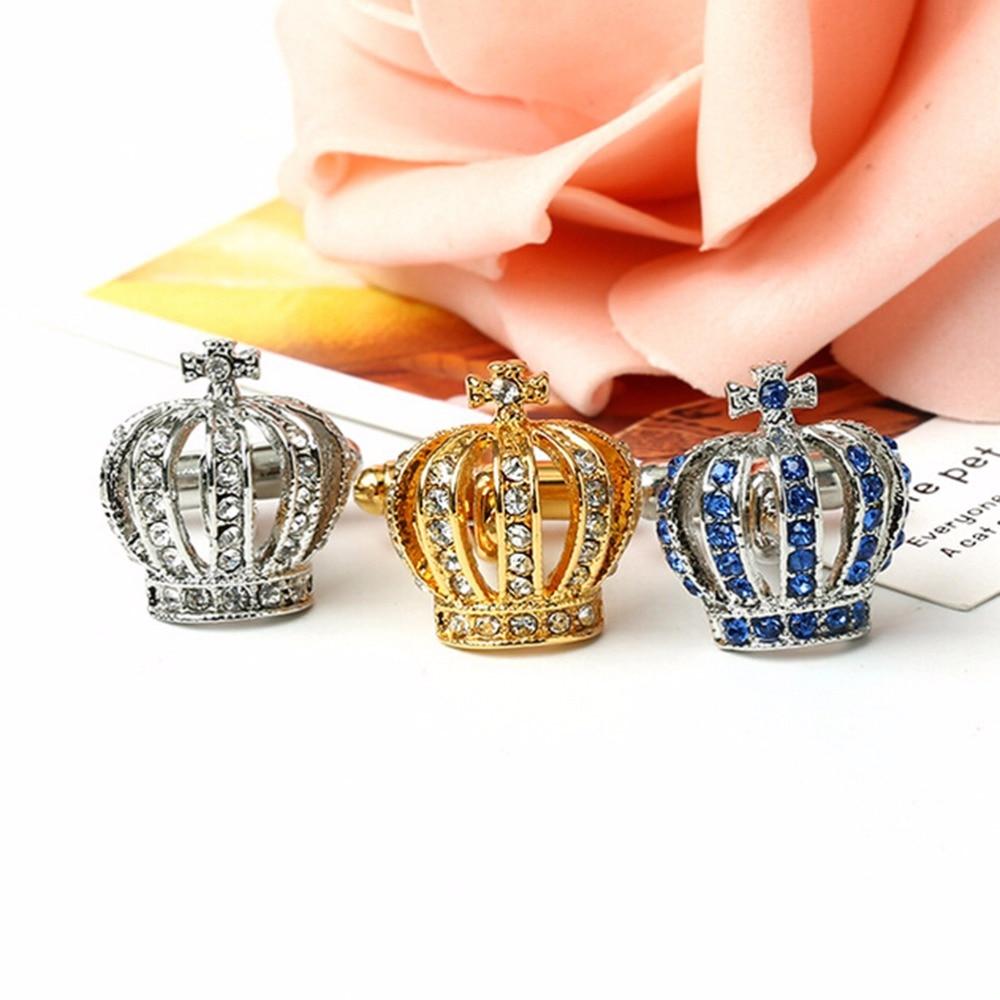 1 Pair Vintage Mens Alloy Crystal Crown Cufflinks Wedding Gift