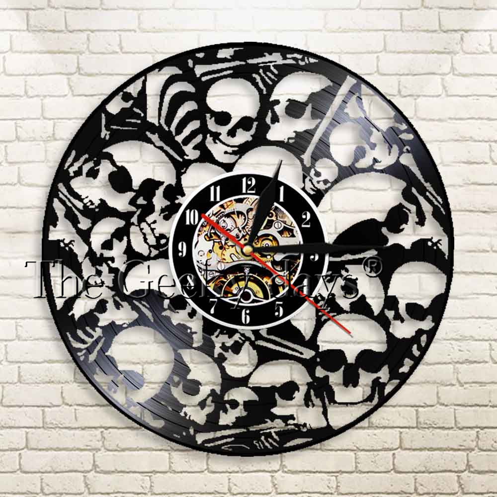 1Piece Vintage Skull Dead Skeletal Heads Vinyl Record Clocks With Blacklight Color Changing Unique Gift Idea