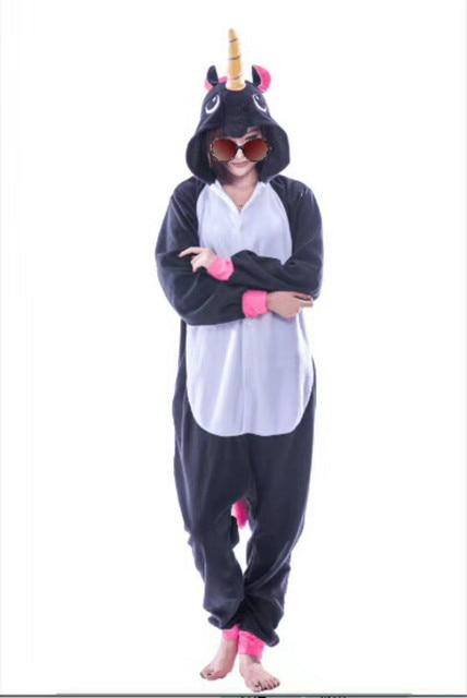 198680f275 Nuevo adulto animal sleepsuit pijamas traje Cosplay onesie unicornio pijamas  negro Monos Mamelucos
