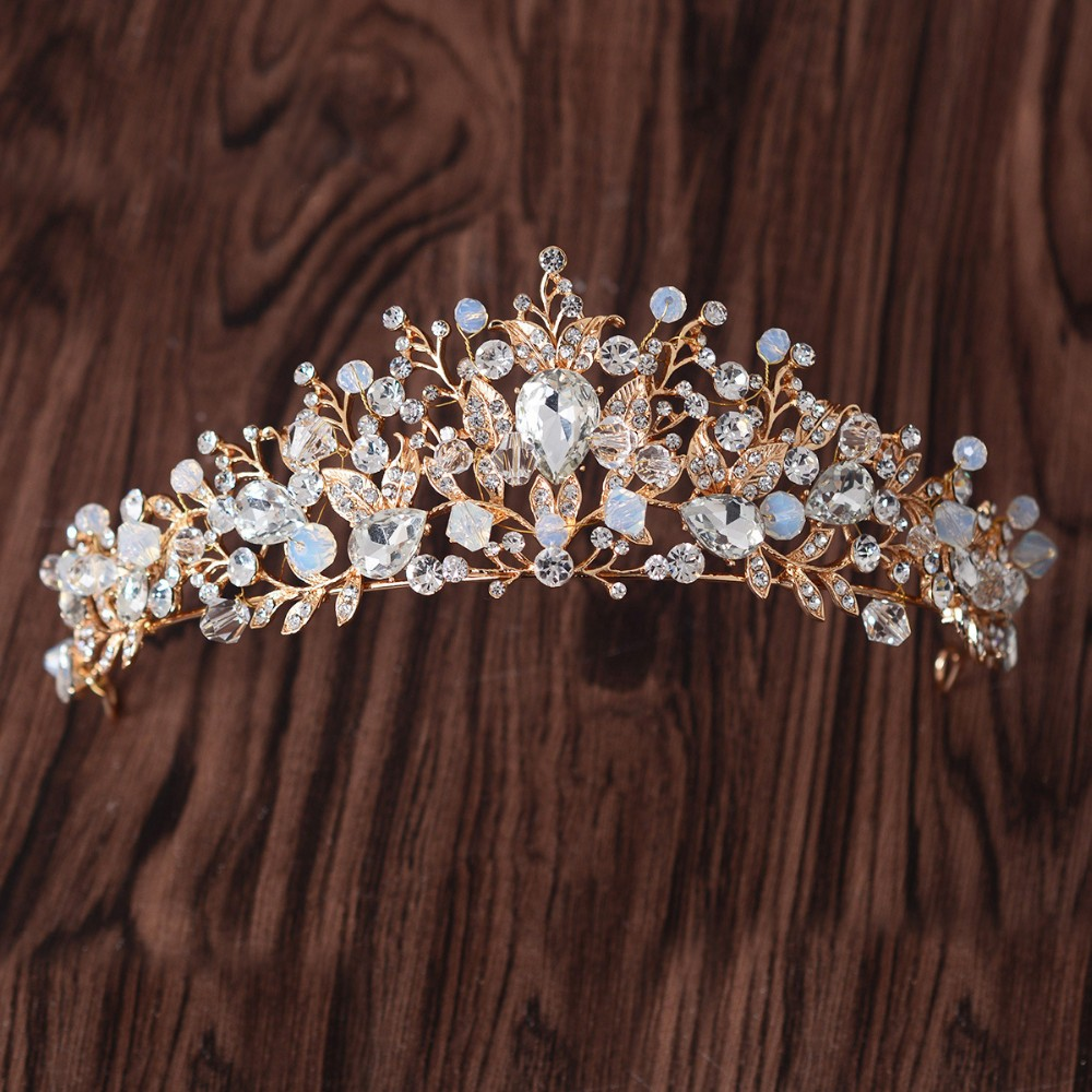 Gold rhinestone bridal headpiece with veil - Baroque Gold Crystal Bridal Tiaras Pink Pearl Rhinestone Crown Bride Hairbands Headpiece Veil Tiara Wedding Hair