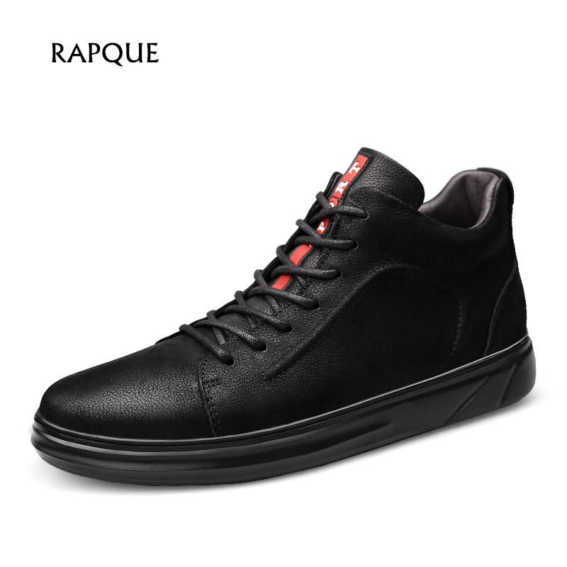 Men Casual Genuine leather Shoes top Quality autumn winter Short Bootie waterproof sneakers lace up Flats