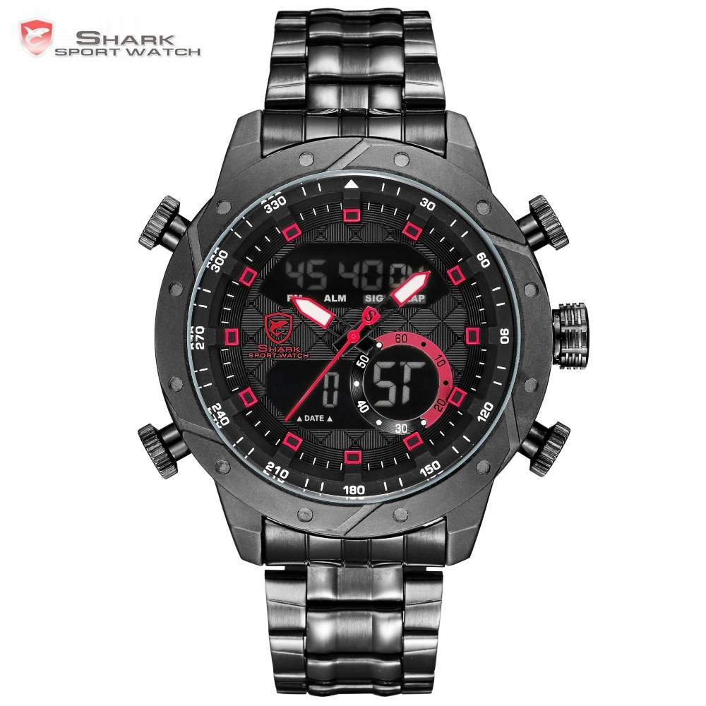 SHARK Mens Watches Top Brand Luxury Fashion Business Quartz Watch Men Sport Full Steel Strap Waterproof Black Wristwatch/ SH592 didun mens watches top brand luxury watches men steel quartz brand watches men business watch luminous wristwatch water resist