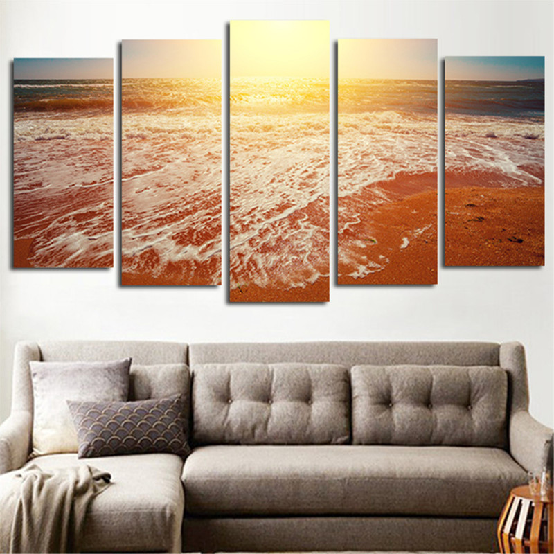 print poster canvas wall art beach sunset landscape decoration art oil painting modular pictures on the - Cheap Canvas Wall Art