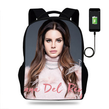 Sexy Singer ModeL Lana Del Rey Backpack Women School Bags For Teenagers Female Travel Girls Usb Charging Mochilas