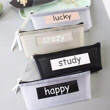 Pencil Case Simple Transparent Mesh Bag Office Student Cases Nylon Zipper School Supply Pen Box Astuccio Scuola