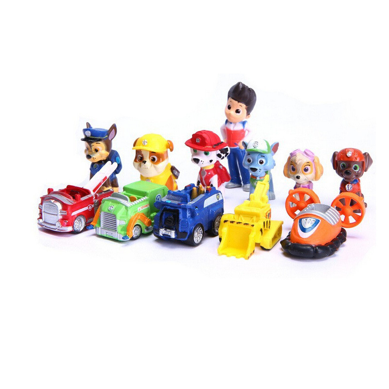 12pcs 3.5-6cm Puppy Dog action figure Dolls Anime Car Puppy Toy Gift Party Favors For Kid Boy Girl Birthday Party