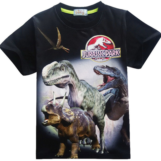 Jurassic Park T-shirt Boys Clothes Jurassic World Short Sleeve Kids  summer Dinosaur t shirt Clothes Baby Boys Clothing 3-12Y