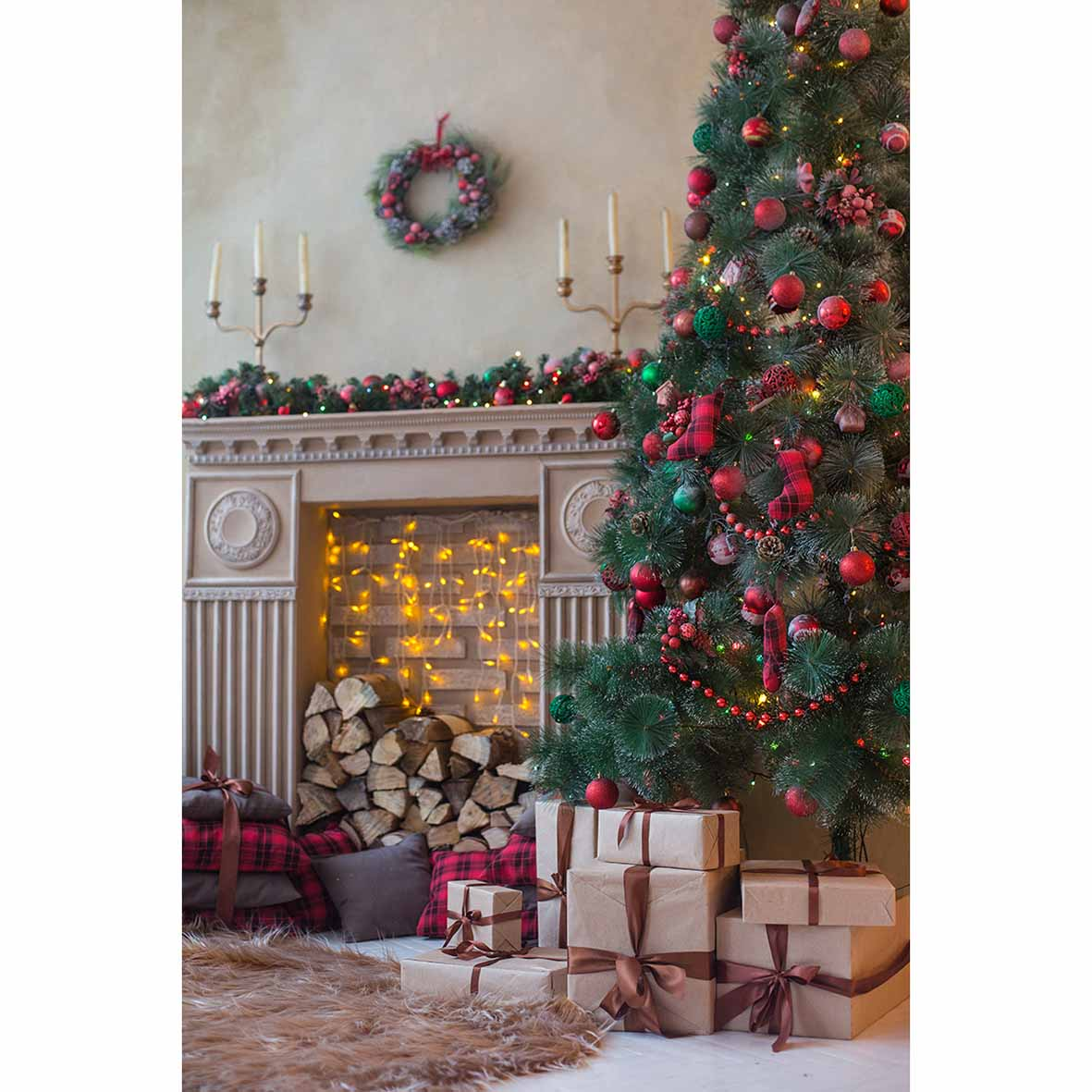 Allenjoy Modern warm Christmas decoration tree gift wreath candle fireplace  wood carpet red ball backgrounds for photo studio-in Background from  Consumer ...
