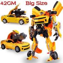 Vente chaude D'origine Boîte 47 CM L Taille Transformation Jouets Enfants Enfants Robot BUMBLEBEE Autobots Voiture Anime Action Figure Classe