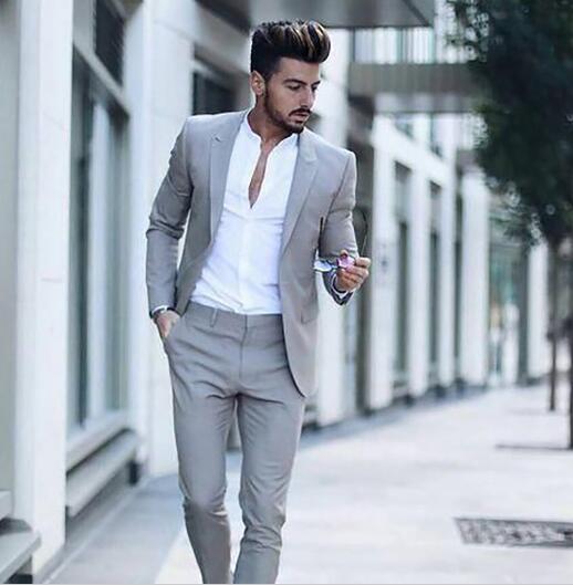 Latest Design Brown Suit Men Wedding Suits For Men Groom Custom Slim Fit Smart Business Street Prom Blazer Costume Homme 2pcs Leather Bag,Knee Length Wedding Guest Plus Size Formal Dresses