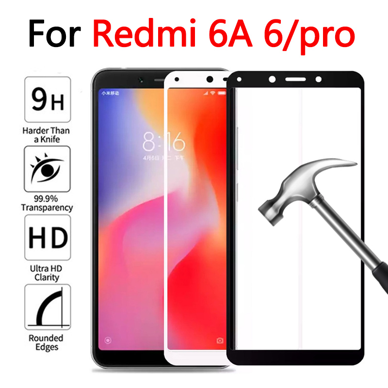 Protective Glass On For Xiaomi Redmi 6A 6 Pro Tempered Glass For Redmi 6 Pro 6pro Redmi6 A Screen Protector Full Cover Film 9h