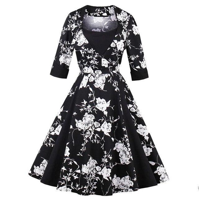 Wipalo плюс Размеры Для женщин Винтаж платье 3/4 рукава черный, белый цвет Цветочный принт Винтаж платье 2019 вечерние платье хлопок Femme Vestidos