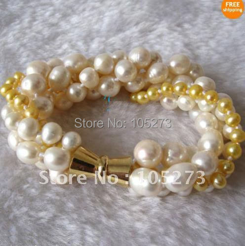 Очаровательный! 7,5-8 дюймов жемчужный браслет AA 3-10 мм белый и золотой цвет подлинный пресноводный жемчуг браслет прядь магнит застежка FN170