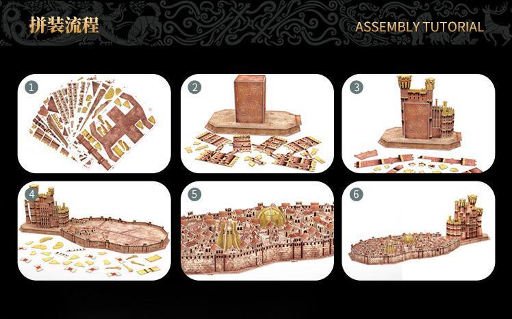 CubicFun 3D puzzle en papier modèle de construction assembler main travail jeu jouet roi de débarquement Architecture célèbre château construire Place 1 pc - 6