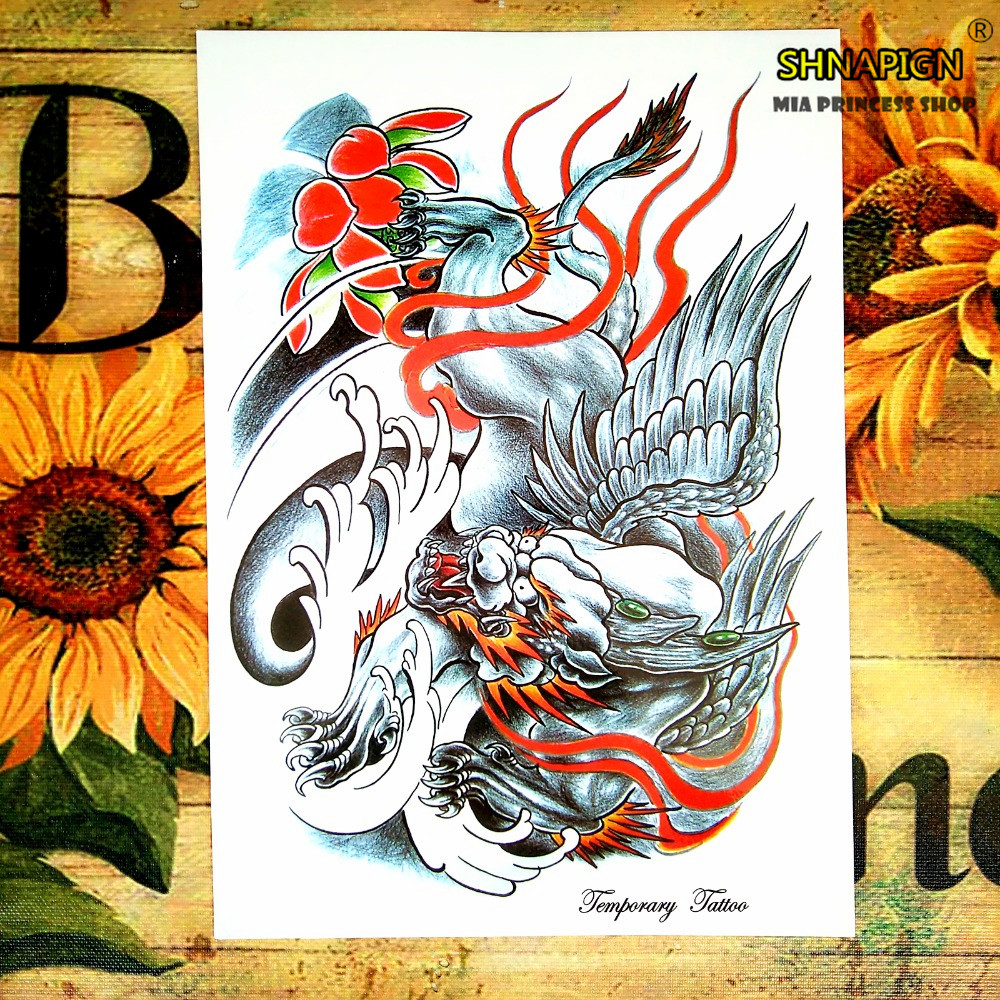 Chameleon Arts Tattoo Flash: Silver Fly Tiger Temporary Tattoo Body Art Flash Tattoo