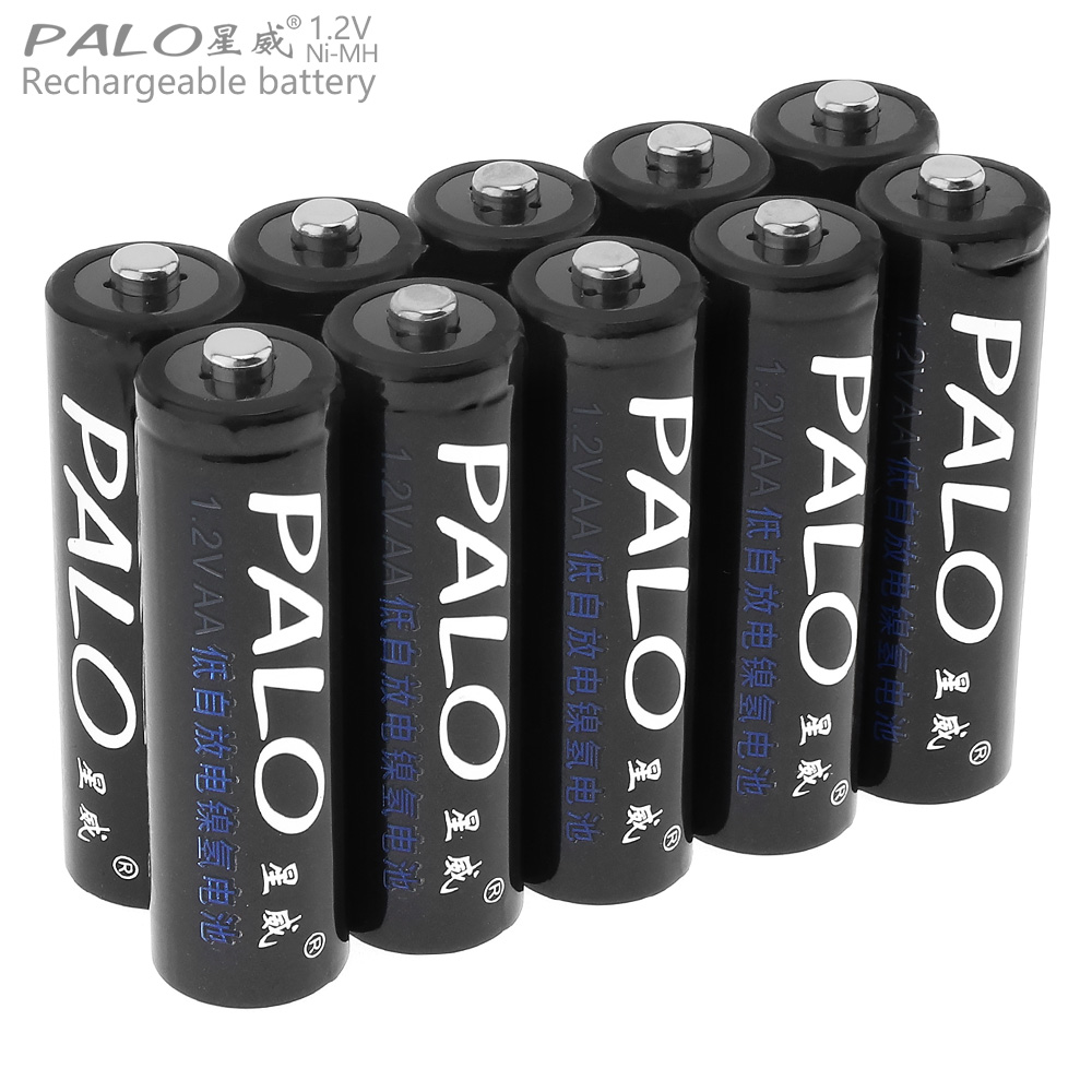 PALO 10pcs 1.2V AA Ni-MH 2500mAh High Capacity Rechargeable Battery with Safety Relief Valve for Camera / Toy / Remote Control