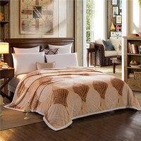 3D in rilievo fiore coperta in pile foglia marrone flanella lenzuolo regina king size caldo Inverno morbido tiro visone velluto casa tessile