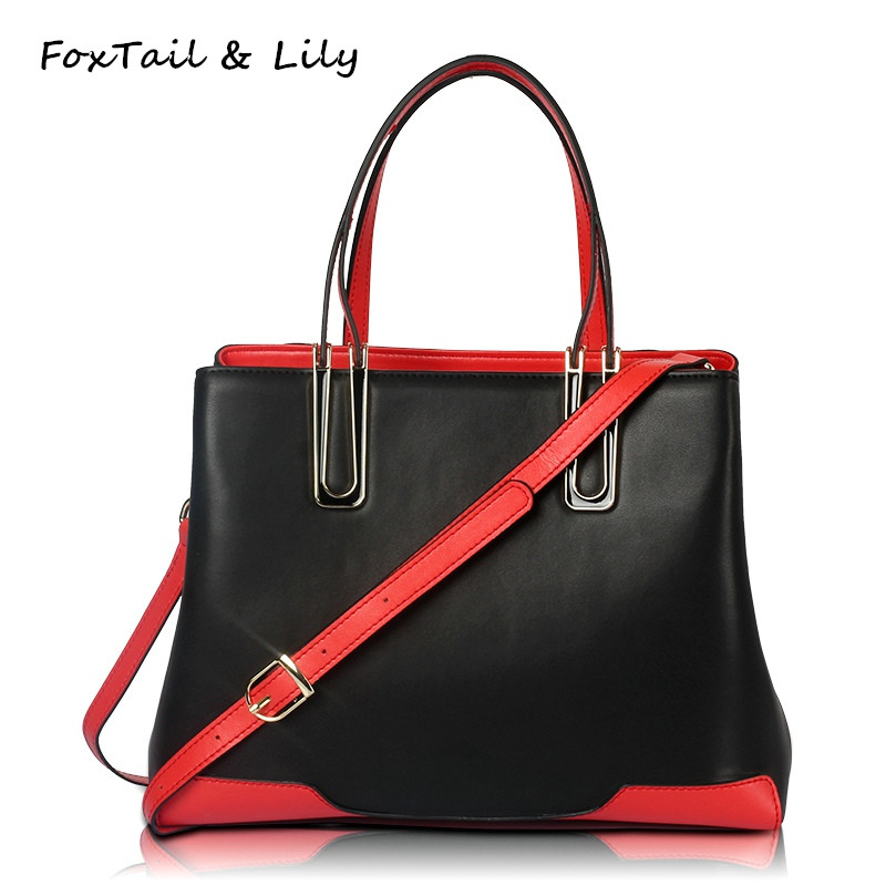 FoxTail & Lily Fashion Patchwork Design Genuine Leather Bag Elegant Ladies Handbags Casual Tote Women Shoulder Crossbody Bags qiaobao 100% genuine leather handbags new network of red explosion ladle ladies bag fashion trend ladies bag