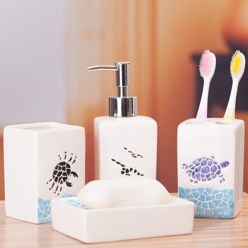 4 Pcs Ocean Style Washing Room Sets Ceramic Bathroom Accessories Sets  Toothpaste Toothbrush Holder Soap Emulsion