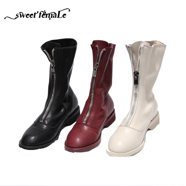 4a76d6aac Европейская роскошная брендовая модная женская обувь больших размеров,  осенне-зимние полусапожки из натуральной кожи