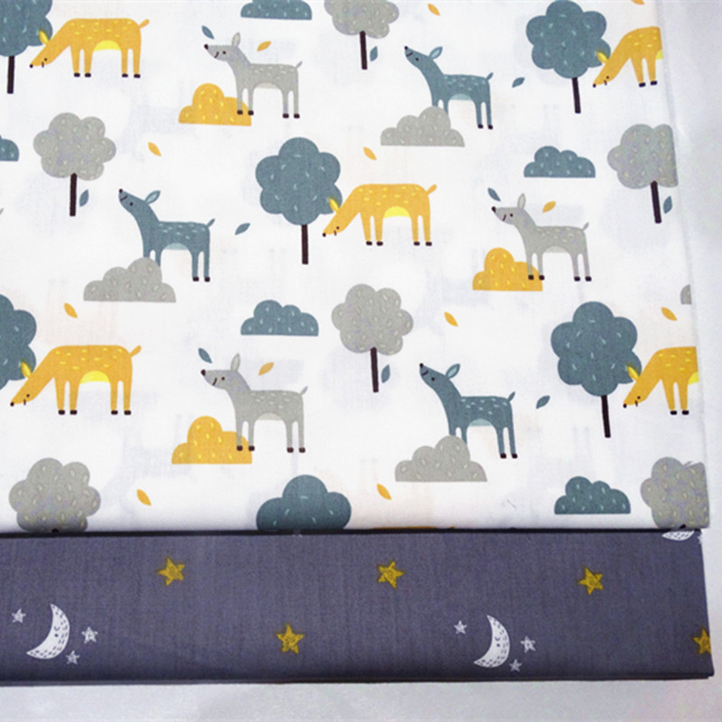 Bright Half Meter 100% Cotton Forest Deer Star Moons Print Fabric Babys Bed Sack Handmade Garment Dress Cloth B154 Home & Garden