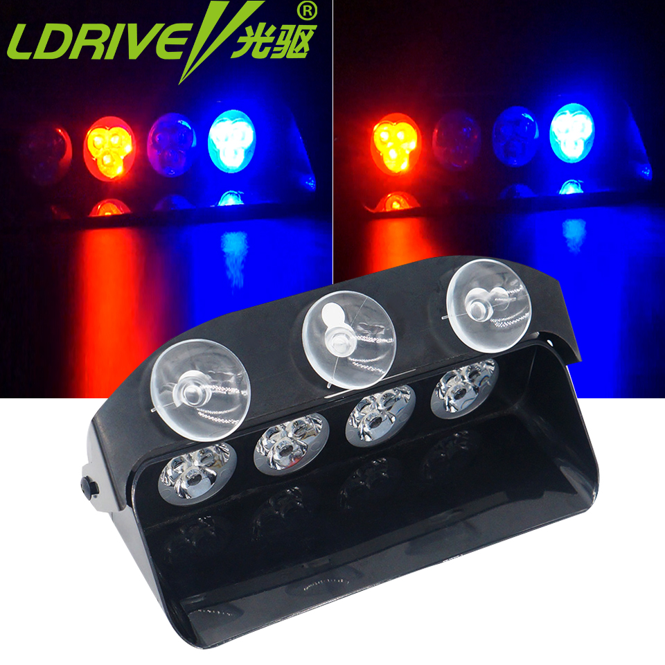 Car Strobe Led Light 12 LED Red/Blue Car Police Sucker Flash Light Dash Emergency Warning Flashing DRL Day Running Fog Lights tg wg01 truck led red and blue flashing warning lights strobe light fog lights taillights