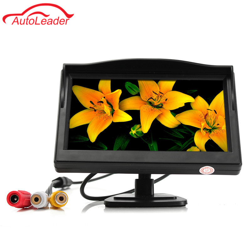 5.0 Inch Car Monitor TFT LCD 800*480 Color 16:9 Screen 2 Way Video Input For Rear View Backup Reverse Camera 12V