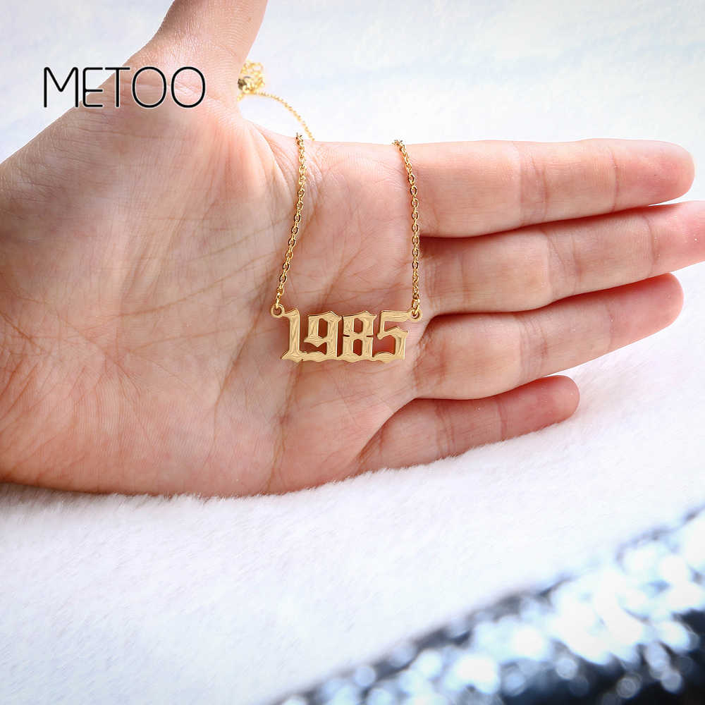 METOO Uniquel Date Number Pendant Necklace Kids Old English Necklace Numbers for Women Custom Jewelry Stainless Steel 1985-2005