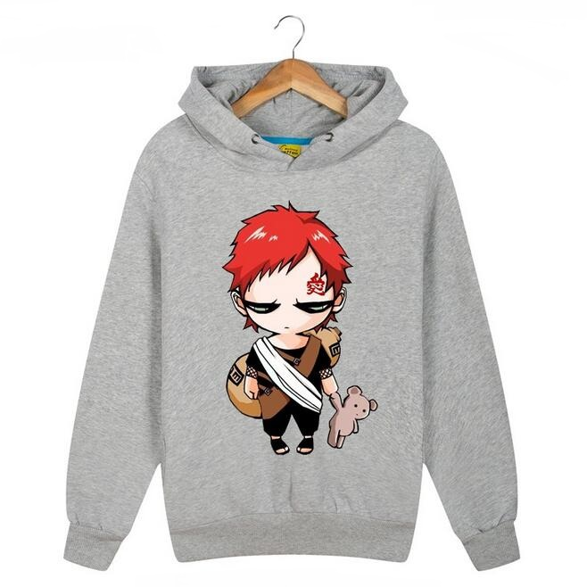 Anime Naruto Gaara Printed Hoodies Fleece Hooded Sweatshirts New 2017 Mens Cartoon Hoody Free Shipping