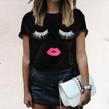 O Neck Eyelash Red Lips Printed T Shirts Tops