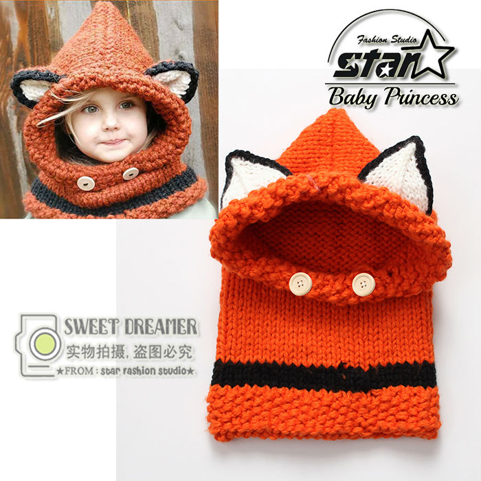 High Quality 2016 New Fashion Cute Winter Baby Cap Girls/Boys Children Knitted Hat and Scarf Set Christmas Gift Fox Shape Wear