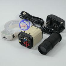 Big discount FYSCOPE 2.0MP HD 3 in 1 Digital  Microscope Video Industrial Set Camera VGA USB AV TV Output +C-mount Zoom Lens+56pcs led light