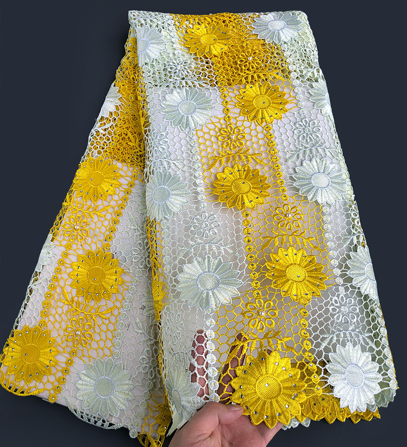 big yellow sunflowers embroidery African guipure lace cord fabric high quality with stones beads 5 yards
