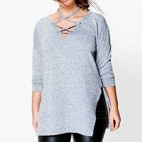 2XL 5XL Fashion Womens Lace Up Crossed Halter Shirt Blusas 3 4 Sleeve V Neck Split