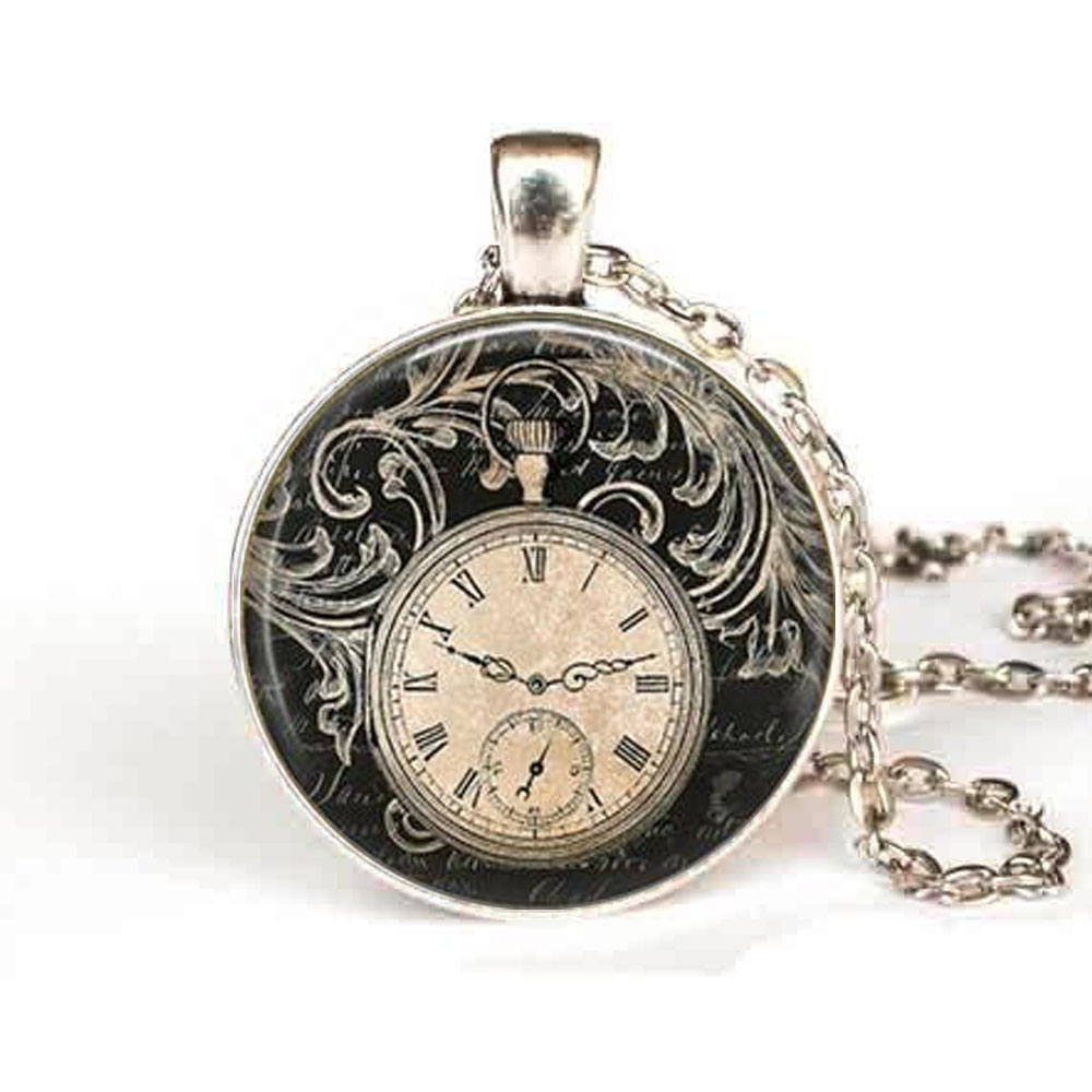 Steampunk vintage clock necklace round clock pocket watch pendant steampunk vintage clock necklace round clock pocket watch pendant art photo pendant glass dome clock pendant jewellery chain in pendants from jewelry mozeypictures Gallery