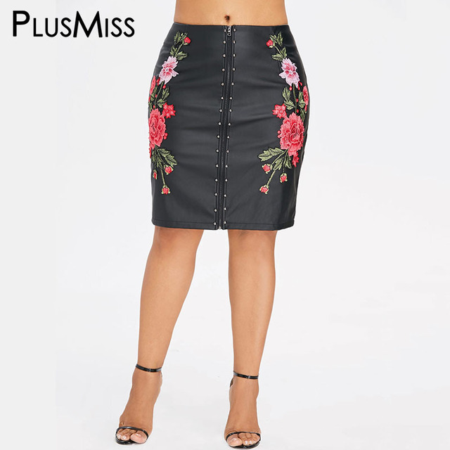 e7f61fd19b76 PlusMiss Plus Size Floral Embroidered PU Leather Pencil Skirt Women High  Waist Embroidery Faux Black Knee