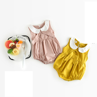 New 2017 Infant Summer Fashion Temperament Baby Cotton Sleeveless Lotus Leaf Collar Solid Color Bbay Rompers