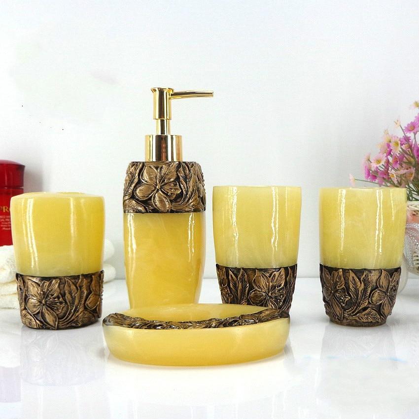 Rose mode accessoires de salle de bain en céramique ensemble de salle de bain Lotion bouteille porte-brosse à dents boîte à savon plateaux accessoires de salle de bain - 6