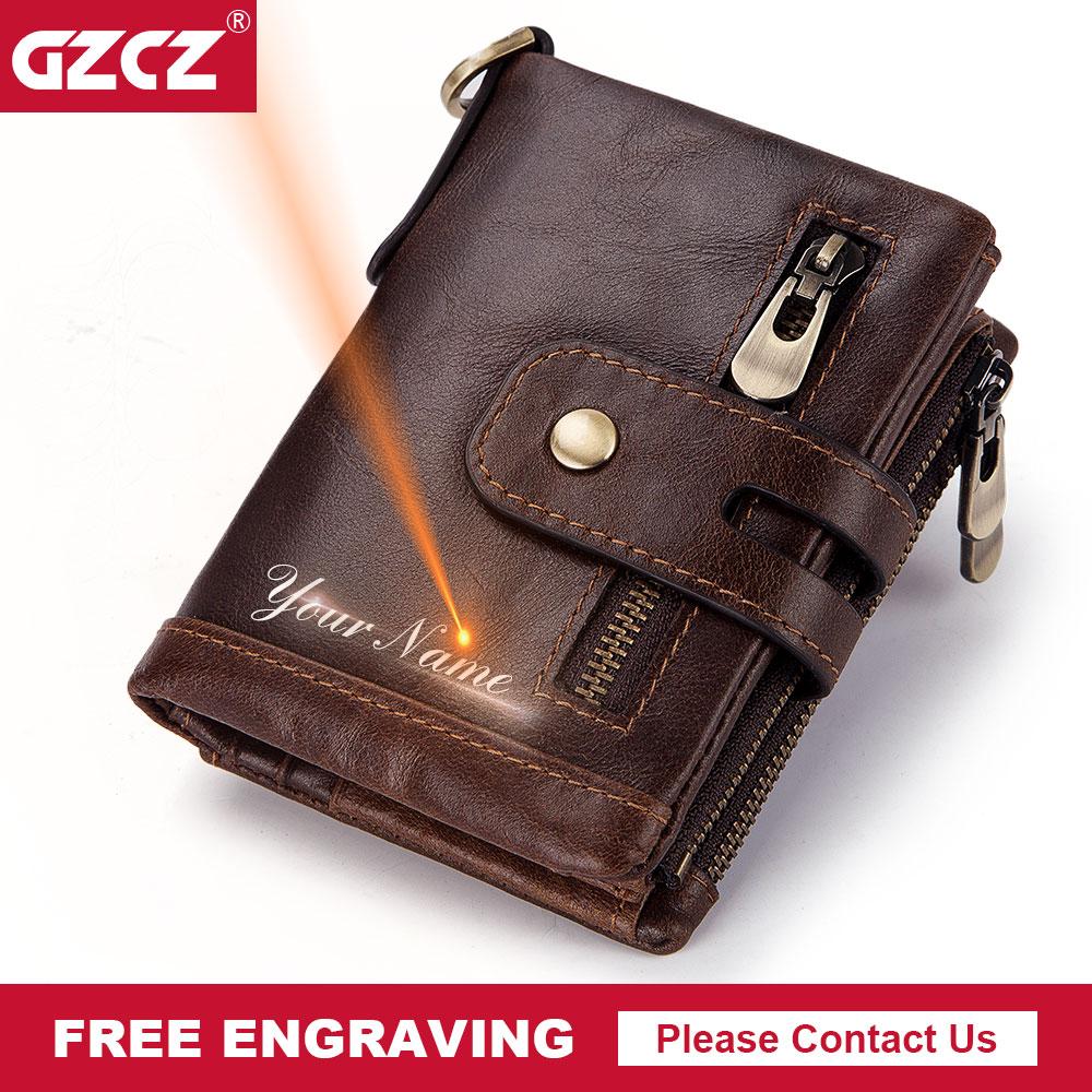 Мужской кошелек GZCZ, короткий кошелек из натуральной кожи с гравировкой, на молнии, 2019