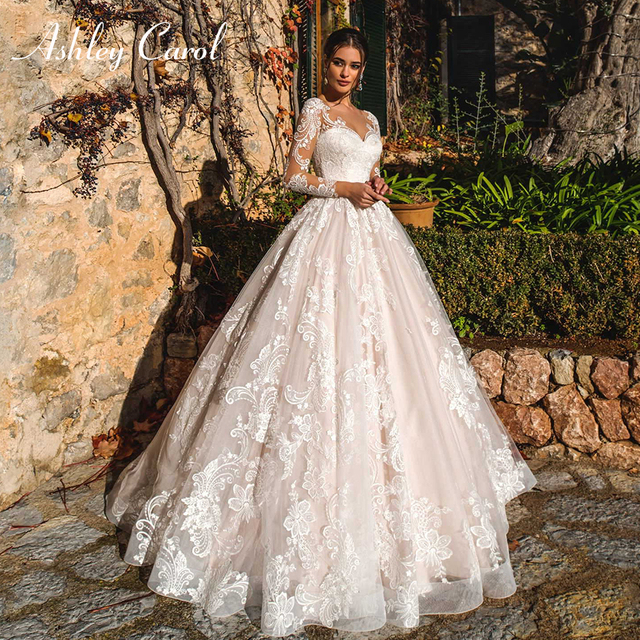 Ashley Carol Long Sleeve Wedding Dresses 2020 Vestido De Noiva Beach A-Line Romantic Appliques Tulle Button Princess Bridal Gown