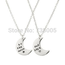 "2015 New Fashion BFF Forever ""To The Moon & Back BFF Star Heart Best Friends Forever Necklace Wholesale Jewelry ! 2pcs(China)"